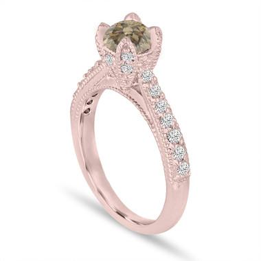 Fancy Champagne Brown Diamond Engagement Ring 0.80 Carat 14K Rose Gold Handmade Certified