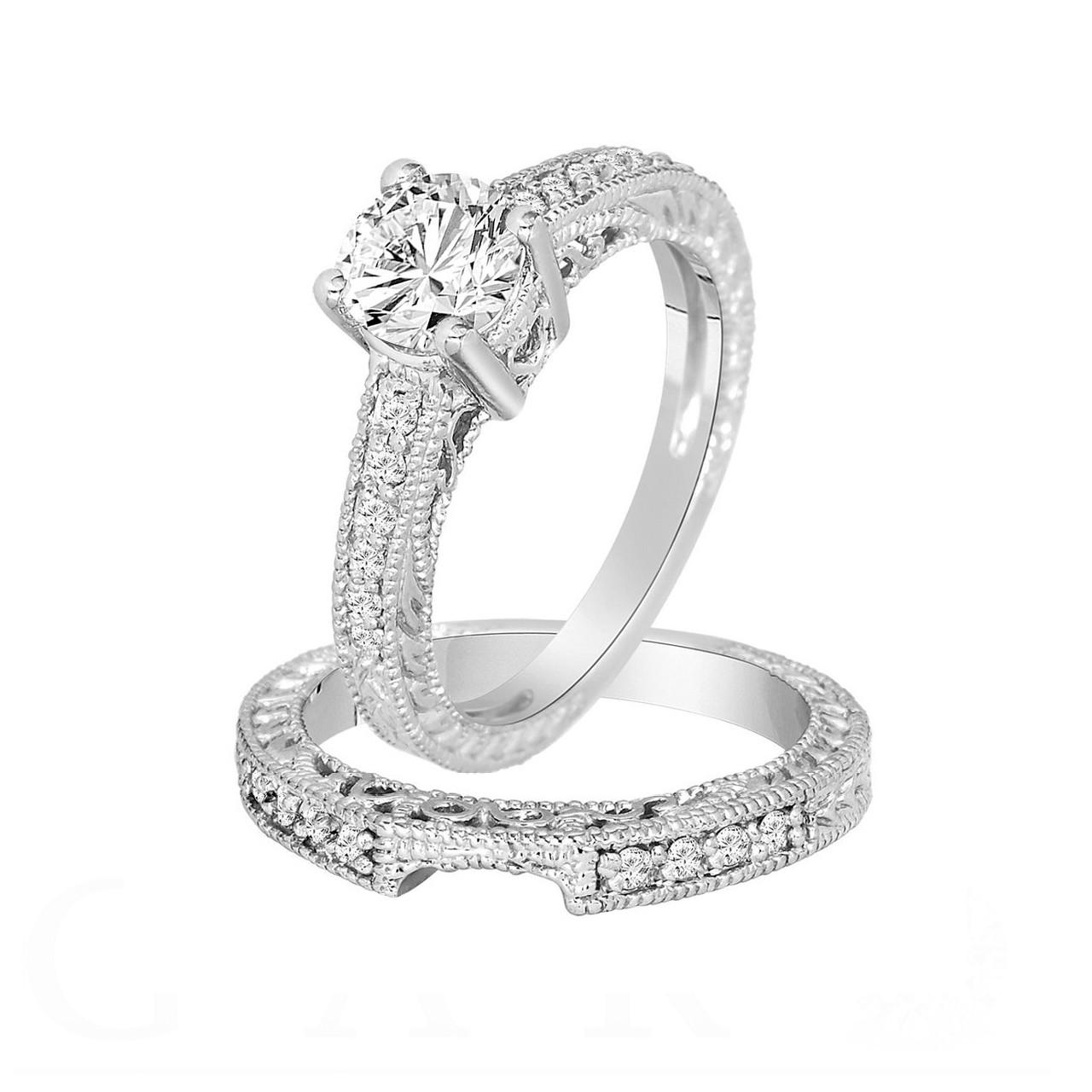 1 Carat Diamond Engagement Ring Set Diamond Wedding Rings Sets Gia