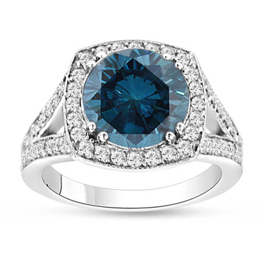 3.83 Carat Fancy Blue Diamond Engagement Ring 14K White Gold Halo Pave Certified Handmade Unique
