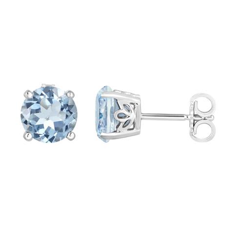 Aquamarine Stud Earrings 14K White Gold 1.70 Carat Handmade Gallery Designs Birthstone