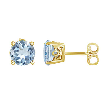 Aquamarine Stud Earrings 14K Yellow Gold 1.70 Carat Handmade Gallery Designs Birthstone