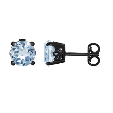 Aquamarine Stud Earrings 14K Black Gold Vintage Style 1.70 Carat Handmade Gallery Designs Birthstone