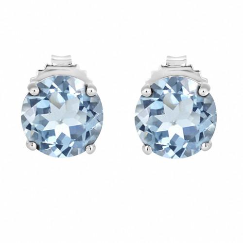 3.20 Carat Aquamarine Stud Earrings 14K White Gold Handmade Birthstone