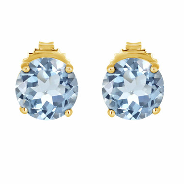 3.20 Carat Aquamarine Stud Earrings 14K Yellow Gold Handmade Birthstone