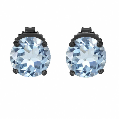 4.40 Carat Aquamarine Stud Earrings 14K Black Gold Vintage Style Handmade Birthstone
