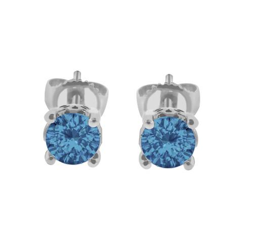 Platinum Fancy Blue Diamond Stud Earrings 1.00 Carat Handmade Gallery Designs