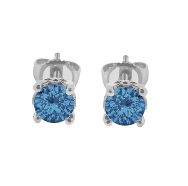 Fancy Blue Diamond Stud Earrings 1.00 Carat 14K White Gold Handmade Gallery Designs