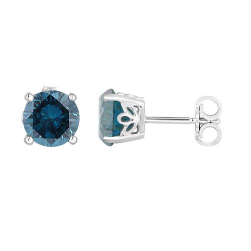 Blue Diamond Stud Earrings 1.92 Carat 14K White Gold Gallery Design Handmade Certified