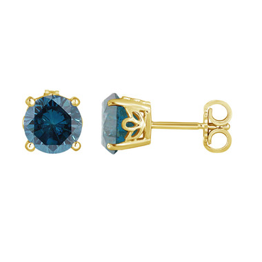 Fancy Blue Diamond Stud Earrings 1.92 Carat 14K Yellow Gold Gallery Design Handmade Certified