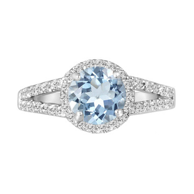 Platinum Aquamarine Engagement Ring 2.12 Carat Handmade Halo Pave Birthstone Certified