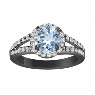 Aquamarine Engagement Ring 14K Black Gold Vintage Style 2.12 Carat Handmade Halo Pave Birthstone Certified