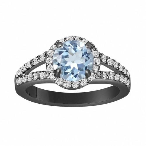 Aquamarine Engagement Ring 14K Black Gold Vintage Style 2.12 Carat Handmade Halo Pave Birthstone Certified