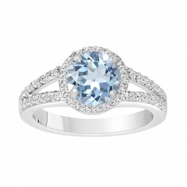 Aquamarine Engagement Ring 14K White Gold 2.12 Carat Handmade Halo Pave Birthstone Certified