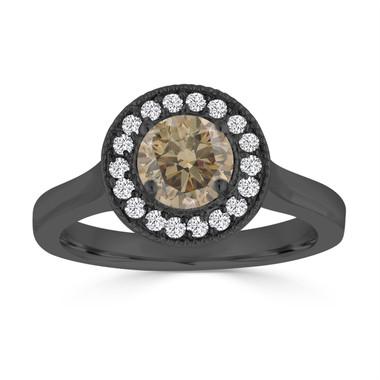 Fancy Champagne Brown Diamond Engagement Ring 14k Black Gold Vintage Stye 0.94 Carat handmade Halo Pave