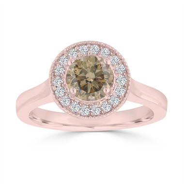 Fancy Champagne Brown Diamond Engagement Ring 14k Rose Gold 0.94 Carat handmade Halo Pave