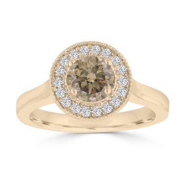 Fancy Champagne Brown Diamond Engagement Ring 14k Yellow Gold 0.94 Carat handmade Halo Pave