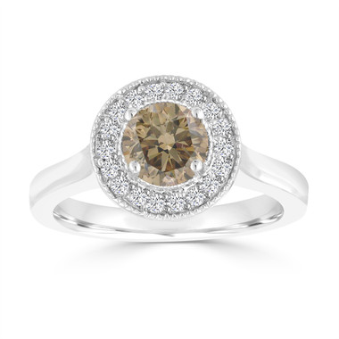 Fancy Champagne Brown Diamond Engagement Ring 14k White Gold 0.94 Carat handmade Halo Pave