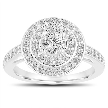 Diamond Engagement Ring 14K White Gold 1.04 Carat Double Halo Pave Handmade Certified
