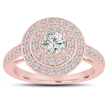 Diamond Engagement Ring 14K Rose Gold 1.04 Carat Double Halo Pave Handmade Certified