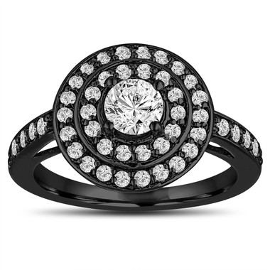 GIA Certified Diamond Engagement Ring 14K Black Gold Vintage Style 1.07 Carat Double Halo Pave Handmade Certified