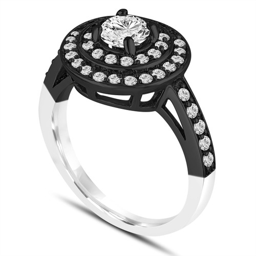 1.04 Carat Diamond Engagement Ring GIA Certified 14K Black And White Gold Vintage Style Double Halo Pave Handmade Certified