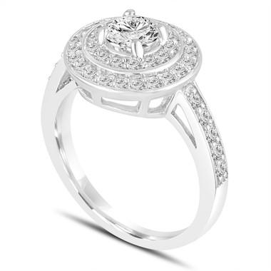 Platinum Diamond Engagement Ring 1.04 Carat Double Halo Pave Handmade Certified
