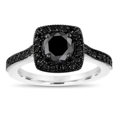 Fancy Black Diamond Engagement Ring 1.28 Carat 14K White Gold Halo Pave Certified Handmade