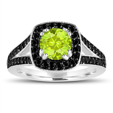 Green Peridot And Fancy Black Diamonds Engagement Ring 14K White Gold 1.56 Carat Halo Pave Handmade Certified