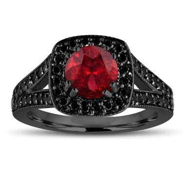 Red Garnet Engagement Ring 14K Black Gold Vintage Style 1.76 Carat Halo Pave Handmade Certified