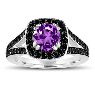 Purple Amethyst And Fancy Black Diamonds Engagement Ring 14K White Gold 1.56 Carat Halo Pave Handmade Certified