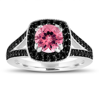 Pink Tourmaline And Fancy Black Diamonds Engagement Ring 14K White Gold 1.56 Carat Halo Pave Handmade Certified