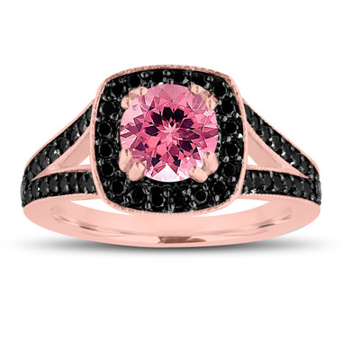 Pink Tourmaline And Fancy Black Diamonds Engagement Ring 14K Rose Gold 1.56 Carat Halo Pave Handmade Certified