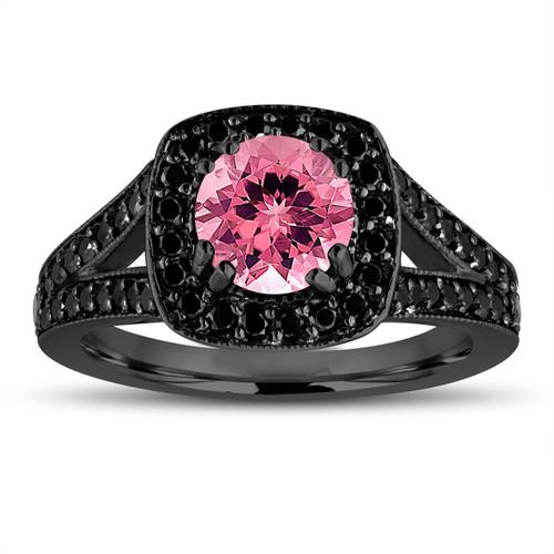 Pink Tourmaline And Fancy Black Diamonds Engagement Ring 14K Black Gold Vintage Style 1.56 Carat Halo Pave Handmade Certified