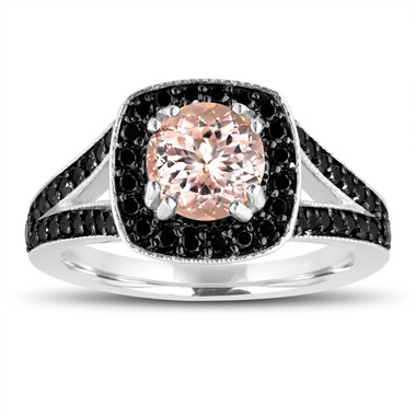 Pink Peach Morganite Engagement Ring 14K White Gold 1.46 Carat Halo Pave Handmade Certified