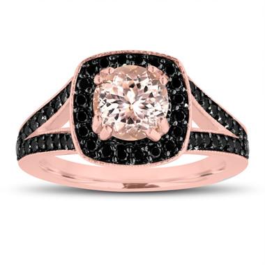 Peach Pink Morganite Engagement Ring 14K Rose Gold 1.46 Carat Halo Pave Handmade Certified