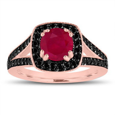 Ruby Engagement Ring 14K Rose Gold 1.57 Carat Halo Pave Handmade Certified
