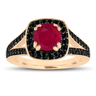 Ruby Engagement Ring 14K Yellow Gold 1.57 Carat Halo Pave Handmade Certified