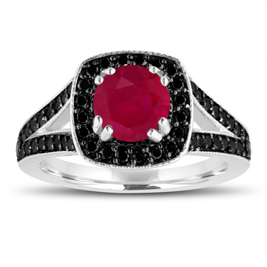 Ruby Engagement Ring 14K White Gold 1.57 Carat Halo Pave Handmade Certified