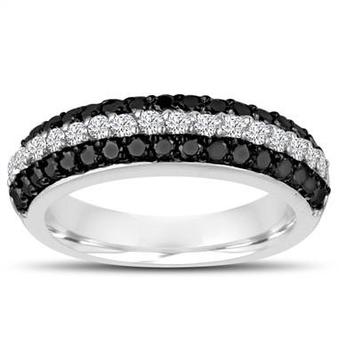 Platinum Fancy Black & White Diamonds Wedding Band Half Eternity 3 Rows Pave Unique 0.84 Carat