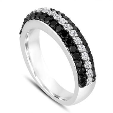 Fancy Black & White Diamonds Wedding Band 14k White Gold Half Eternity 3 Rows Pave Unique 0.84 Carat