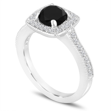 Platinum Fancy Black Diamond Engagement Ring 1.30 Carat Halo Pave Certified Handmade