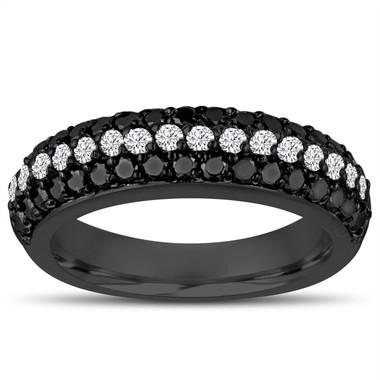 Fancy Black & White Diamonds Wedding Band 14k Black Gold Vintage Style Half Eternity 3 Rows Pave Unique 0.84 Carat