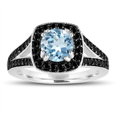 Aquamarine And Fancy Black Diamonds Engagement Ring 14K White Gold 1.46 Carat Halo Pave Handmade Certified