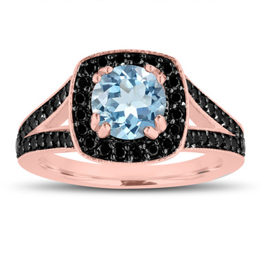 Aquamarine And Fancy Black Diamonds Engagement Ring 14K Rose Gold 1.46 Carat Halo Pave Handmade Certified
