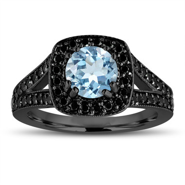Aquamarine And Fancy Black Diamonds Engagement Ring 14K Black Gold Vintage Style 1.46 Carat Halo Pave Handmade Certified