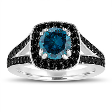 Fancy Blue Diamond Engagement Ring 14K White Gold 1.56 Carat Halo Pave Handmade Certified