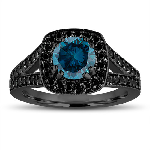 Fancy Blue Diamond Engagement Ring 14K Black Gold Vintage Style 1.56 Carat Halo Pave Handmade Certified