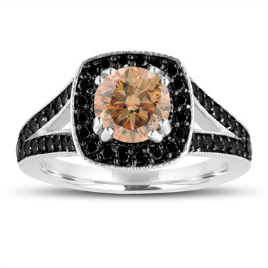Fancy Champagne Brown Diamond Engagement Ring 14K White Gold 1.56 Carat Halo Pave Handmade Certified