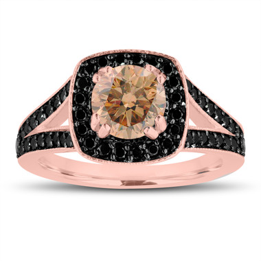Fancy Champagne Brown Diamond Engagement Ring 14K Rose Gold 1.56 Carat Halo Pave Handmade Certified