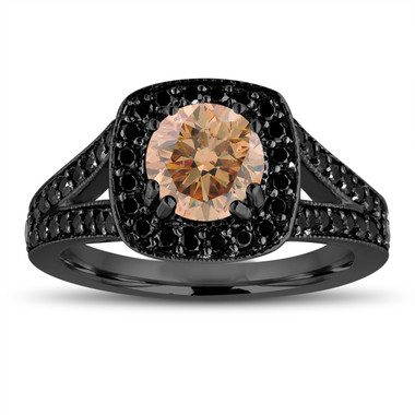 Fancy Champagne Brown Diamond Engagement Ring 14K Black Gold Vintage Style 1.56 Carat Halo Pave Handmade Certified